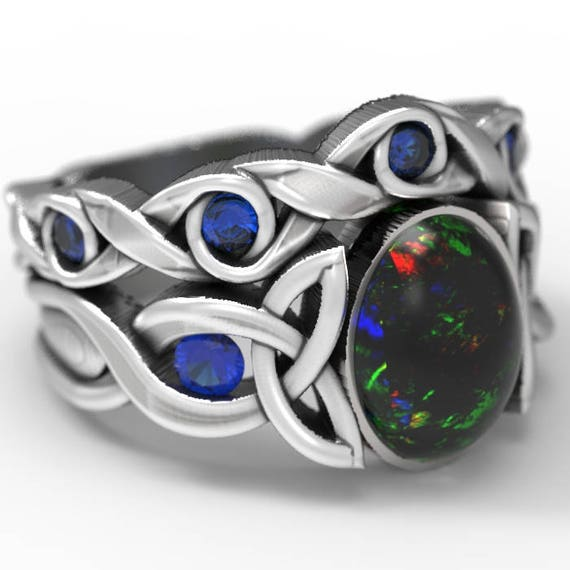 RESERVED FOR aubreyka Opal & Sapphire Engagement Ring Set, Sterling Silver Celtic Knot Ring, Opal Ring Set, Ring in Your Size CR-1131