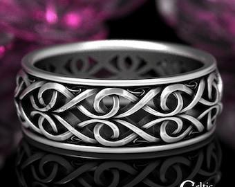 Sterling Celtic Wedding Ring, Celtic Man Wedding Band, Celtic Infinity Wedding Ring, Modern Silver Ring, Mens Infinity Wedding Band, 1422