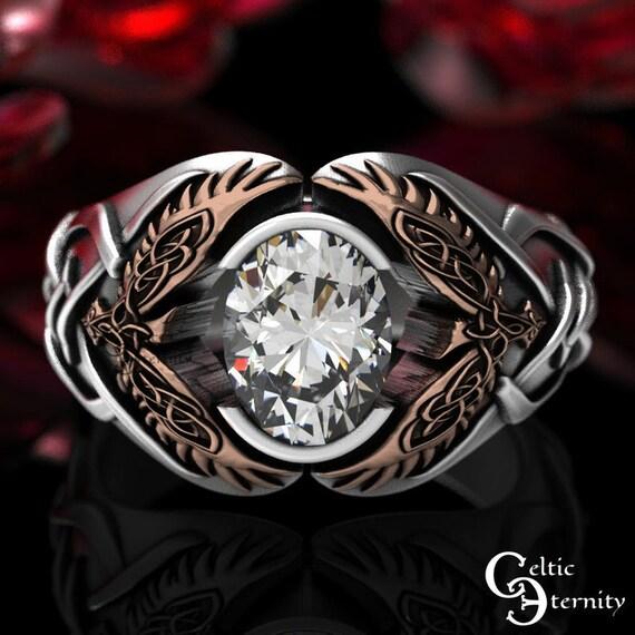 Reserved for Harvey Petersen - Custom 2-Tone Moissanite with 10K White + Rose Gold Celtic Raven Ring, 1477