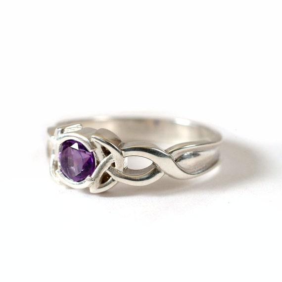 Celtic Amethyst Ring With Trinity Knot Design in 10K Gold, Made in Your Size CR-405b