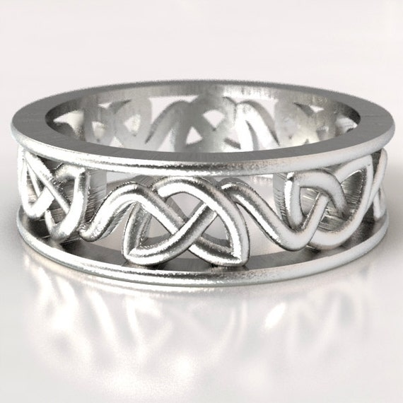 Celtic Wedding Ring With Dara Cut-Through Knotwork Design in Sterling Silver, Made in Your Size CR-228