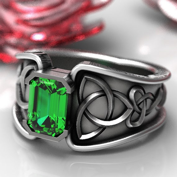 Palladium or Platinum Made in Your Size CR-17d 10K 14K 18K Gold Celtic Emerald Ring With Trinity Knot Band Ring Design in Sterling