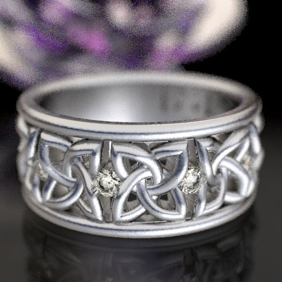 Celtic Wedding Ring with Moissanites in 4 Petal Flower Dara Knot Design in Silver, 10K 14K 18K gold,  or palladium Made in Your Size CR-1010