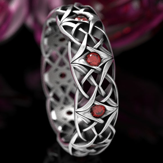 Celtic Ruby Wedding Ring, Celtic Eternity Band with Rubies, Bespoke Celtic Knot Ring, Sterling Silver with Rubies, Made in Your Size CR-1300