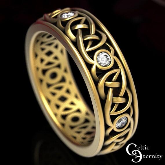 Gold Celtic Wedding Ring, Moissanite Wedding Band, Celtic Wedding Band, Platinum Celtic Ring, Modern Moissanite Ring, Gold Wedding Band,1508