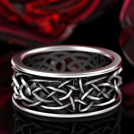 Celtic Wedding Ring With Intricate Swirl Cut-Through Knotwork Design in Sterling Silver, Made in Your Size CR-111