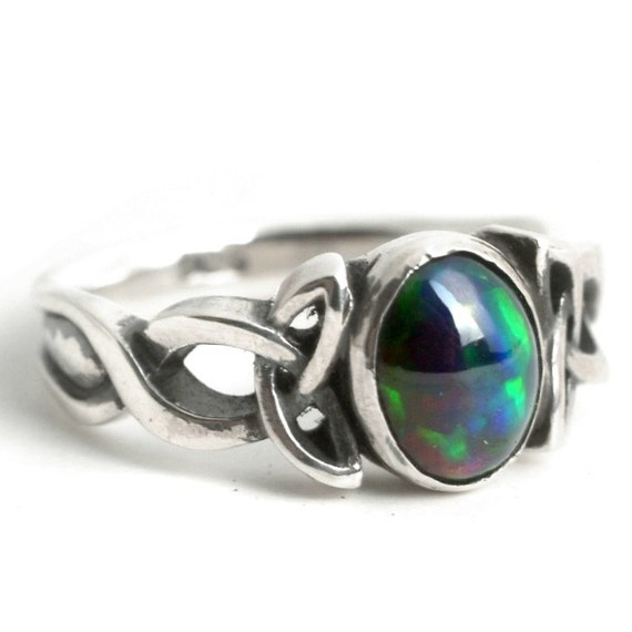 Opal Engagement Ring, Sterling Silver Celtic Knot Ring, Opal Celtic Ring, Opal Wedding Ring, Black Opal Ring in Your Size CR-1131