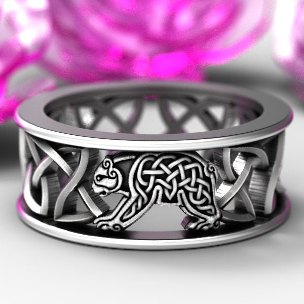 Sterling Silver Bear Wedding Band Celtic Bear Ring Mens Wedding