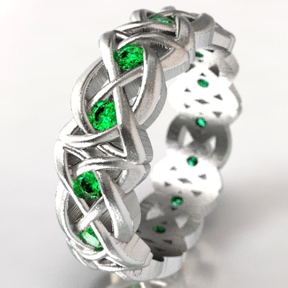 Celtic Cut-Through Dara Style Knot with Emeralds Made in Sterling Silver, 10K 14K 18K Gold, Palladium, or Platinum Made in Your Size CR-1064