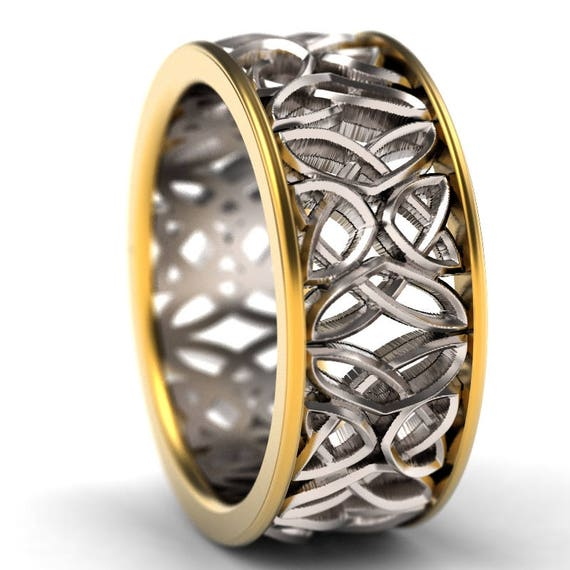 Celtic Bi-Metal Wedding Ring With Laced Dara Knotwork Design in 14K Gold, Made in Your Size CR-646b