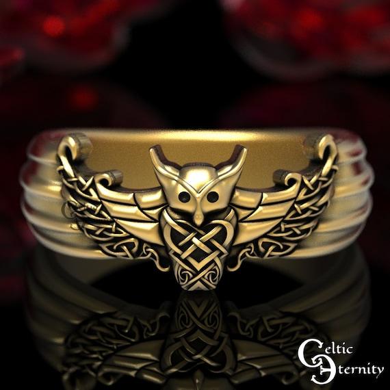 Viking Owl Ring in Gold, Viking Wedding Band, Men's Viking Ring, Celtic Wedding Band, Gold Owl Ring, Platinum Owl Ring, Odin Ring, 1479
