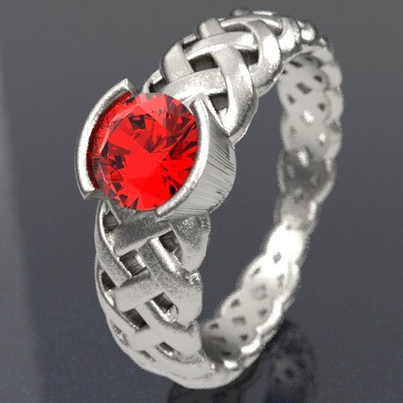 Celtic Ruby Engagement Ring With Braided Cut-Through Knotwork Design in Sterling Silver, Gold, or Palladium Made in Your Size CR-760