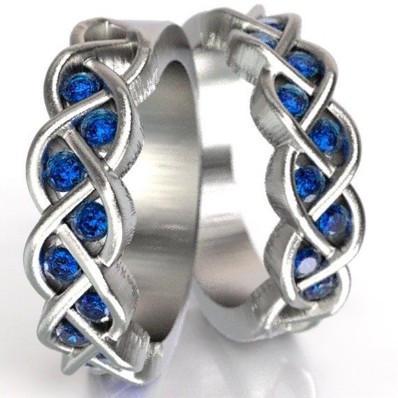 Celtic Wedding Set Sapphire Stone With Braided Knot Design in Sterling, 10K 14K 18K Gold or Platinum Made in Your Size CR-1005
