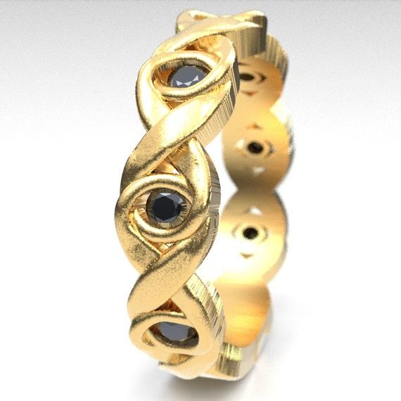 Celtic Black Spinel Wedding Ring With Infinity Knot Design in 10K 14K 18K Gold or Platinum, Celtic Knot Ring, Custom Size 1107