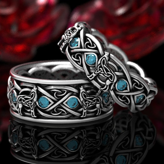 RESERVED FOR inosent0915 4 Payments for Sterling Silver Celtic Wolf Ring Set with Topaz, Eternity Band Celtic Wolf Jewelry, Custom Ring 1267