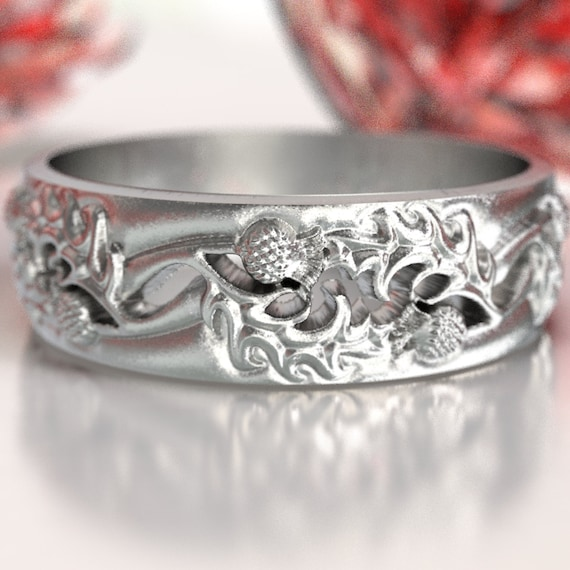 Thistle Wedding Band, 925 Sterling Silver Scottish Ring, Unique Rings for Him, Botanical Jewelry, Handcrafted Rings, Custom Size 5064