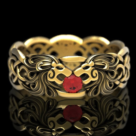 Gold Celtic Lion Wedding Ring, Ruby Gold Ring, Gold Lion Wedding Band, Cat Ring, Platinum Lion Ring, Jungle Cat Ring, Lion Jewelry, 1370