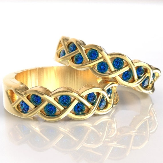 Celtic Wedding Ring Set Sapphire Stone With Braided Knot Design in 10K 14K 18K Gold, Palladium or Platinum Made in Your Size CR-1005