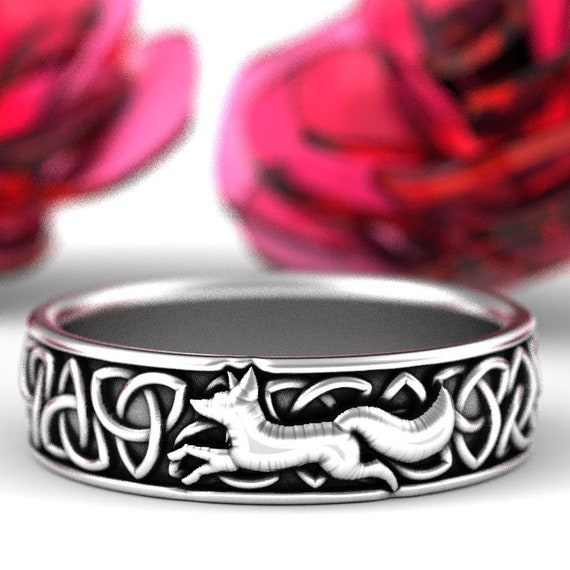 Sterling Silver Celtic Fox Ring, Fox Wedding Band, Womens Silver Band, Trillian Celtic Knot, Fox Jewelry, Trinity Celtic Ring Custom 1241