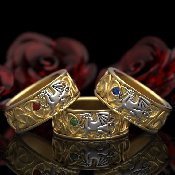 RESERVED FOR Patti Welsh Dragon Ring Celtic Sterling Rings, 14k White and Yellow Gold with Ruby, Emerald, and SapphireCustom Size 1182