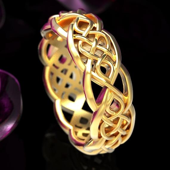 Celtic Wedding Ring, Celtic Knot Ring, Mens Celtic Ring, Celtic Knot Ring, Celtic Ring Made in Gold or Platinum Custom Made Celtic Ring 1051