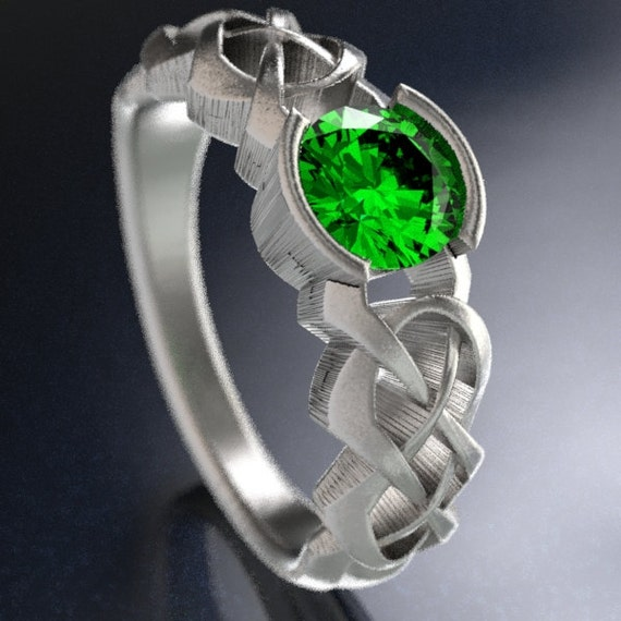 Celtic Emerald Engagement Ring, Affordable Engagement Ring, Emerald Engagment, Sterling Silver Celtic Ring, Hand Crafted in Your Size CR-414