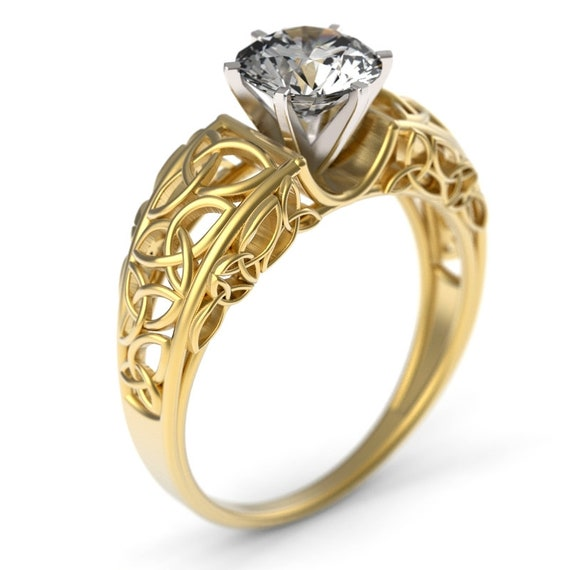 Filigree Solitaire Celtic 1 Carat Moissanite Engagement Ring With Trinity Knot Design in 10K 14K 18K Gold or Platinum, Made Your Size 6001