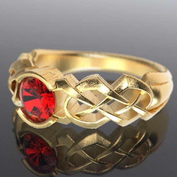 Gold Celtic Ruby Engagement Ring With Dara Knot Design in 10K 14K 18K or Palladium, Made in Your Size Cr-414