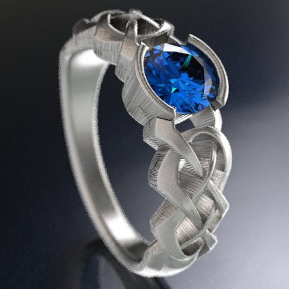 Celtic Blue Sapphire Engagement Ring With Dara Knot Design in Sterling, 10K 14K 18K or Platinum, Made in Your Size Cr-414