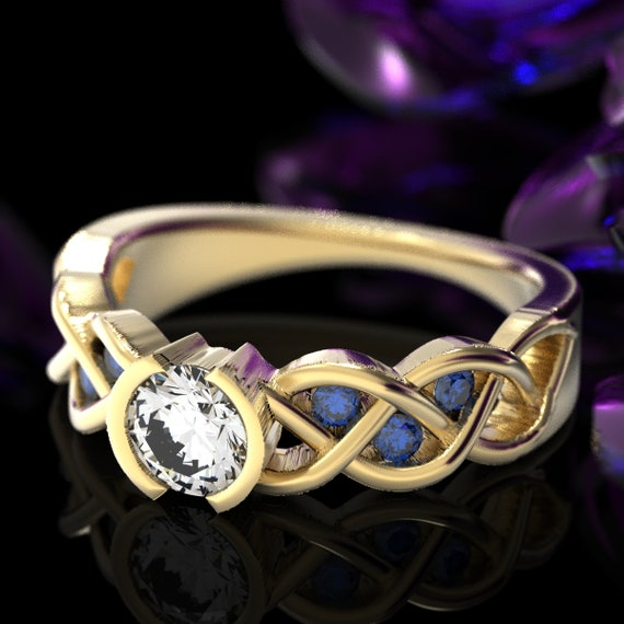 Celtic Sapphire and Moissanite Engagement Ring with Braided Knotwork Design Made in 10K 14K 18K Gold or Platinum, Made in Your Size Cr-1006