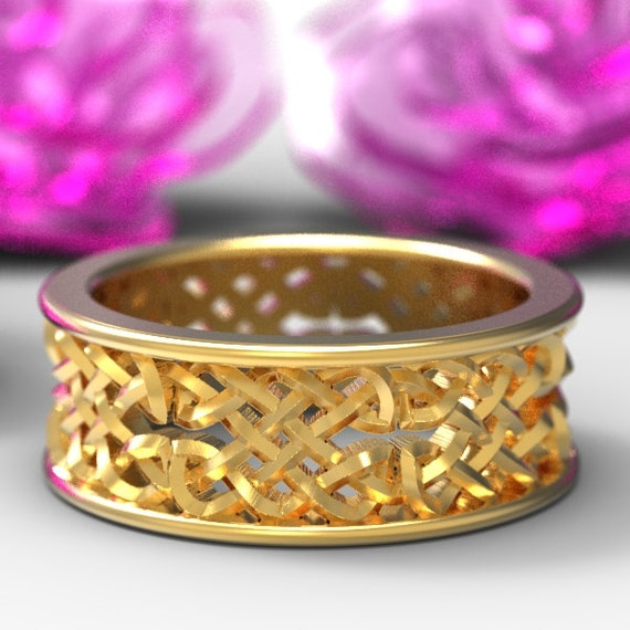 Celtic Wedding Ring With Open Cut-Through Knotwork Design in 10K 14K 18K Gold, Palladium or Platinum Made in Your Size 1141