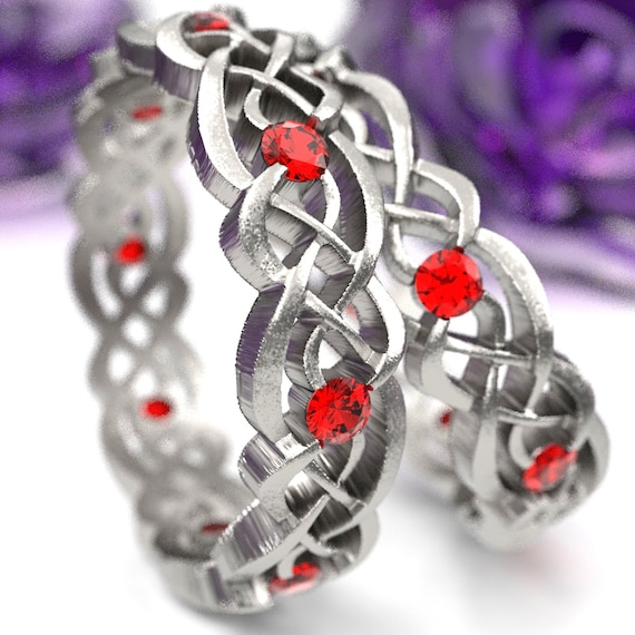 Eternity Celtic Infinity Band with Rubies made in Sterling Silver, 10K 14K 18K Gold, Palladium, or Platinum  Made in your size CR-1044