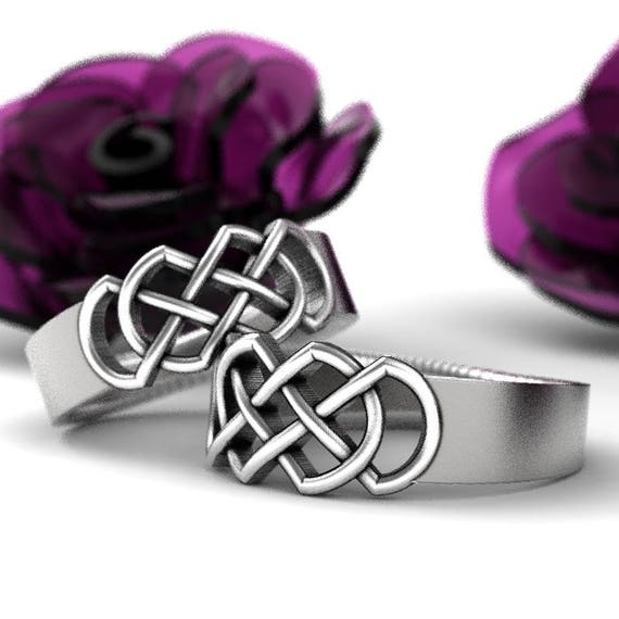 Celtic Wedding Ring Set With Infinity Knot Design in Sterling Silver, 10K 14K 18K Gold, Platinum or Palladium Made in Your Size CR-770