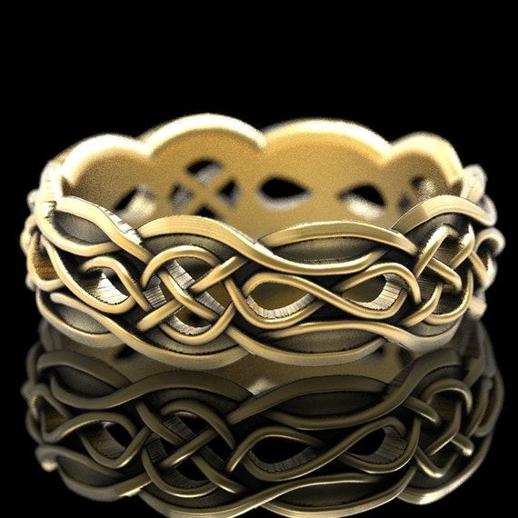 Gold Celtic Wedding Ring Partial Cut-Through Infinity Symbol Pattern & Quaternary Knots 10K 14K 18K Gold or Platinum 1054