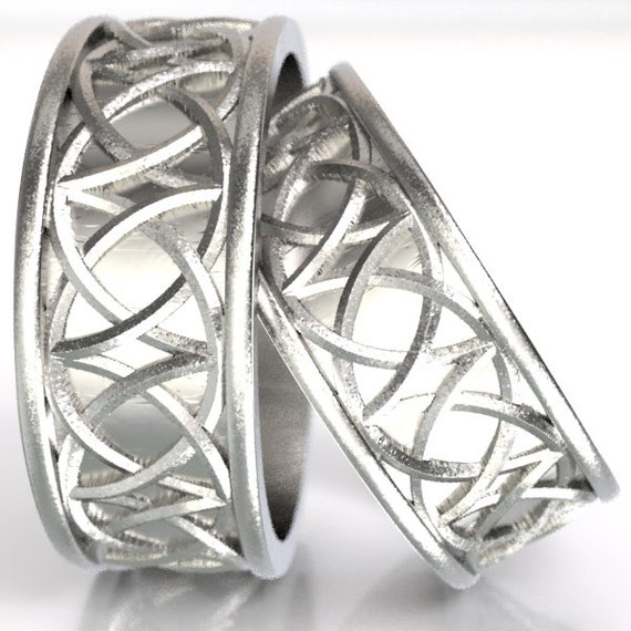 Celtic Wedding Ring Set With Mirrored Arches Knotwork Design in Sterling Silver, Made in Your Size CR-109