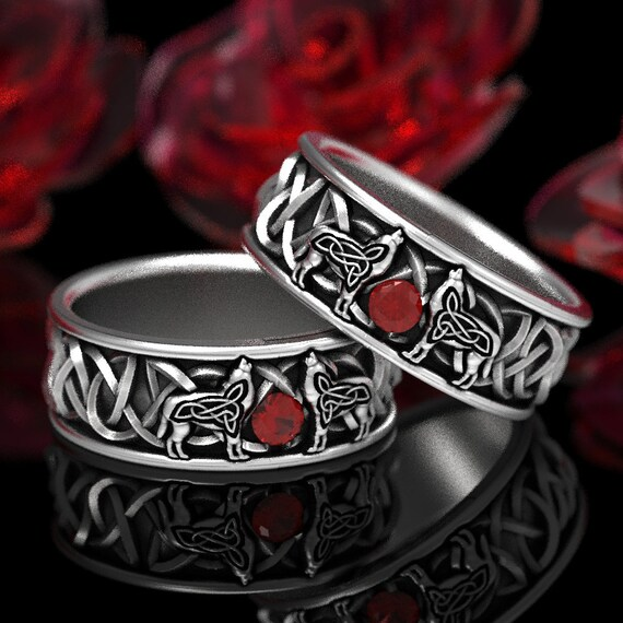 RESERVED FOR Kitty, 2 Ring Set Custom Sterling Silver Celtic Wolf Ring with Ruby, Celtic Animal Ring, Wolf Jewelry, Norse Ring 1170