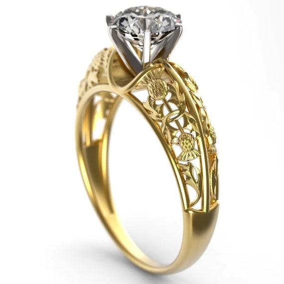 1ct Moissanite Thistle Filigree Engagement Ring, 10K 14K or 18K Gold or Platinum, Scottish Solitare, Floral Wedding, Thistle Wedding 6002