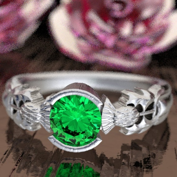 Thistle Engagement Ring, Sterling Silver & Emerald, Scottish Solitare, Floral Wedding, Handcrafted Rings, Alternative Engagement Ring 5062
