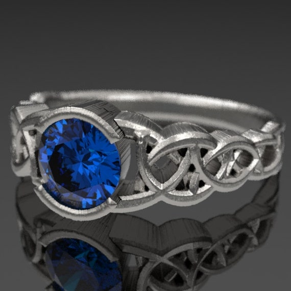 Celtic Sapphire Engagement Ring, Blue Sapphire with Dara Knotwork Design in Sterling Silver, Made in Your Size CR-430
