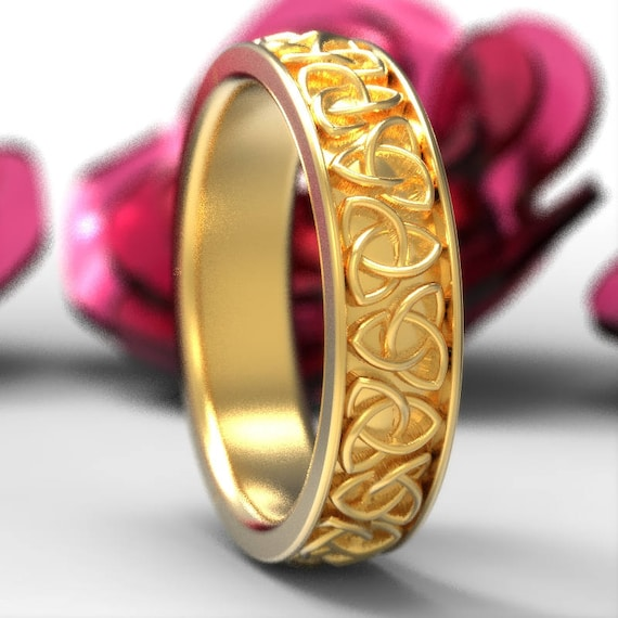 Celtic Gold Wedding Ring, Celtic Trinity Knot Ring in 10K 14K 18K Gold, Platinum, Thin Womens Wedding Band Made in Your Size 1200