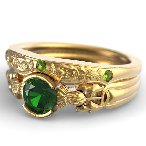 RESERVED FOR innuendo92 Thistle Engagement Ring Set, Gold, Emerald & Peridot, Scottish Solitare, Floral Wedding, Handcrafted Rings 5062