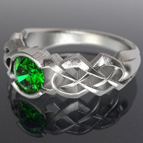 Celtic Emerald Engagement Ring With Dara Knot Design in Sterling, 10K 14K 18K or Palladium, Made in Your Size Cr-414