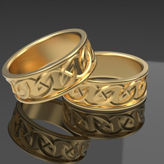 Celtic Wedding Ring Set with Interwoven Tribal Knotwork Design Made in 10K 14K 18K Gold or Platinum, Made in Your Size Cr-516