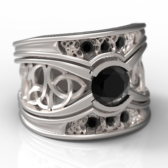 Celtic Black Sapphire Engagement Ring With Matching Trinity Knot Bands in Sterling Silver, Made in Your Size CR-1026