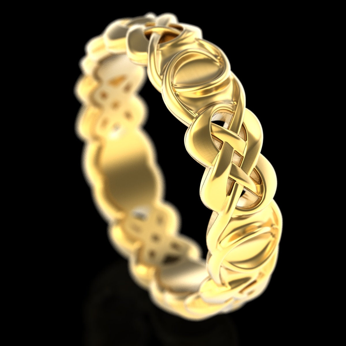 Gold Celtic Knot Wedding Ring Double Infinity Ring Woven Infinity Knot Ring 10k 14k 18k Gold Or Platinum Ring Custom Wedding Band 210