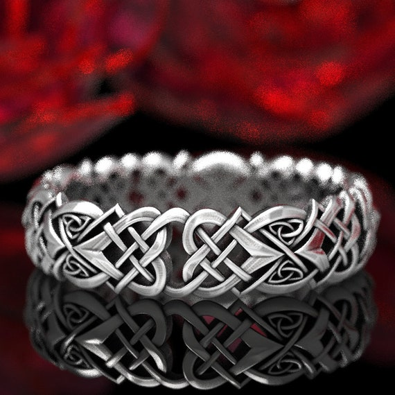 Celtic Knot Silver Heart Wedding Ring, Sterling Womens Celtic Ring Knot, Silver Love Knot Sterling Ring, Heart Matching Wedding Ring 1360