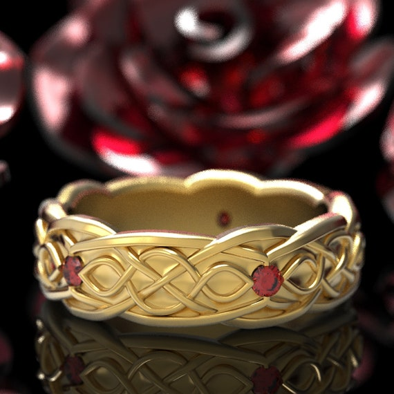 Gold Celtic Wedding Ring With Infinity Symbol Pattern & Ruby Stones in 10K 14K 18K or Platinum, Made in Your Size Cr-1050