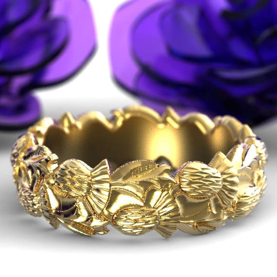 Gold Thistle Vine Ring, 10K 14K or 18K Gold, Scottish Ring, Unique Rings for Her, Handcrafted Rings, Platinum or Palladium 5098