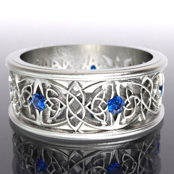 Celtic Wedding Ring Butterfly Knot Design Sapphire Stones in Sterling Silver 10K 14K 18K Gold or Platinum Made in Your Size CR-1040