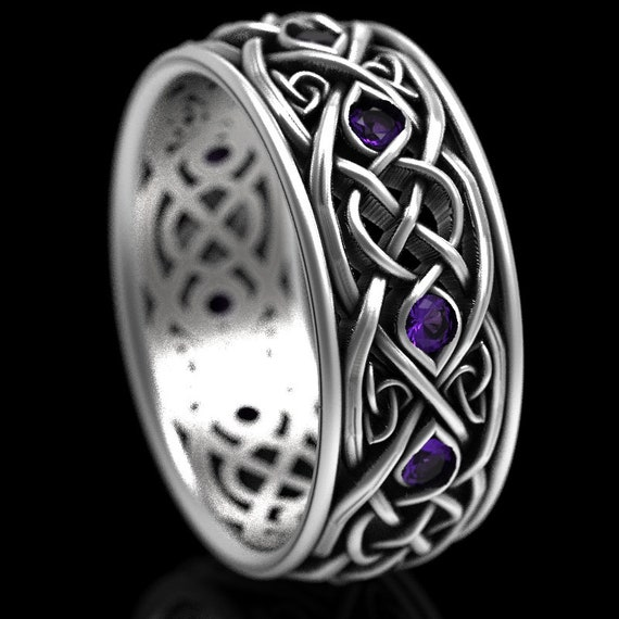 Infinity Wedding Band With Amethysts, 925 Sterling Silver Celtic Ring, Unique Wedding Ring, Celtic Wedding Band, Handcrafted Size CR1096